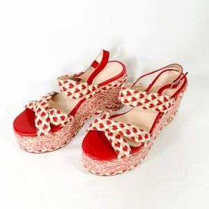 FREE PEOPLE Platform Espadrille Red White Leather